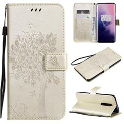 Embossing Butterfly Tree Leather Wallet Case for OnePlus 7 Pro - Champagne