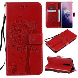 Embossing Butterfly Tree Leather Wallet Case for OnePlus 7 Pro - Red