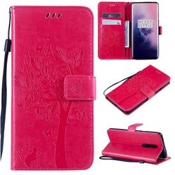 Embossing Butterfly Tree Leather Wallet Case for OnePlus 7 Pro - Rose