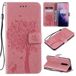Embossing Butterfly Tree Leather Wallet Case for OnePlus 7 Pro - Pink