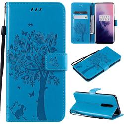 Embossing Butterfly Tree Leather Wallet Case for OnePlus 7 Pro - Blue