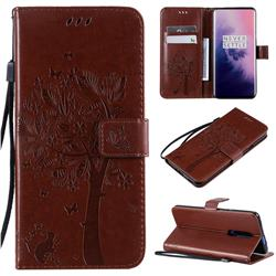 Embossing Butterfly Tree Leather Wallet Case for OnePlus 7 Pro - Coffee