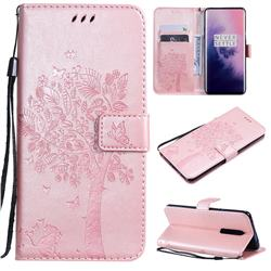 Embossing Butterfly Tree Leather Wallet Case for OnePlus 7 Pro - Rose Pink