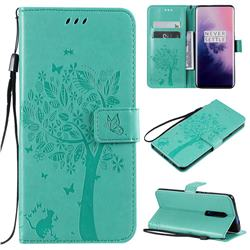 Embossing Butterfly Tree Leather Wallet Case for OnePlus 7 Pro - Cyan
