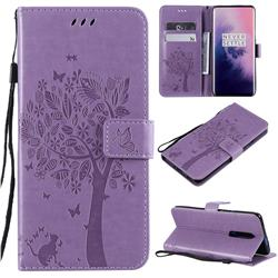 Embossing Butterfly Tree Leather Wallet Case for OnePlus 7 Pro - Violet