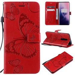 Embossing 3D Butterfly Leather Wallet Case for OnePlus 7 Pro - Red