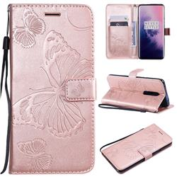 Embossing 3D Butterfly Leather Wallet Case for OnePlus 7 Pro - Rose Gold