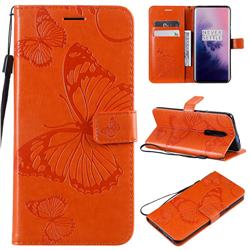 Embossing 3D Butterfly Leather Wallet Case for OnePlus 7 Pro - Orange