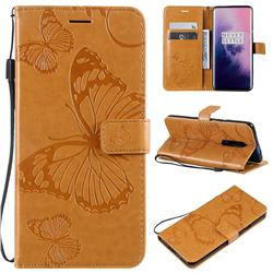 Embossing 3D Butterfly Leather Wallet Case for OnePlus 7 Pro - Yellow