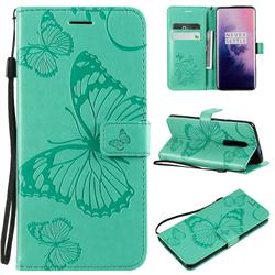 Embossing 3D Butterfly Leather Wallet Case for OnePlus 7 Pro - Green