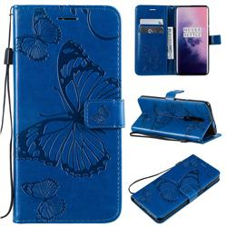 Embossing 3D Butterfly Leather Wallet Case for OnePlus 7 Pro - Blue