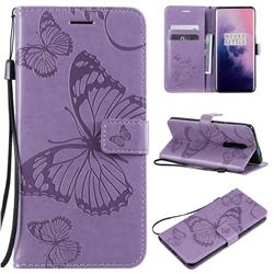 Embossing 3D Butterfly Leather Wallet Case for OnePlus 7 Pro - Purple