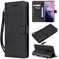 Retro Greek Classic Smooth PU Leather Wallet Phone Case for OnePlus 7 Pro - Black