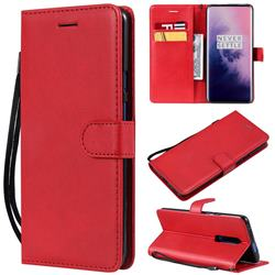 Retro Greek Classic Smooth PU Leather Wallet Phone Case for OnePlus 7 Pro - Red
