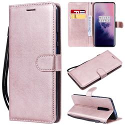Retro Greek Classic Smooth PU Leather Wallet Phone Case for OnePlus 7 Pro - Rose Gold