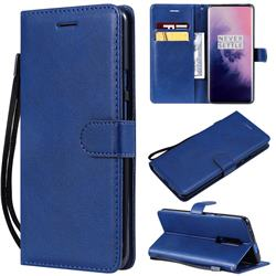 Retro Greek Classic Smooth PU Leather Wallet Phone Case for OnePlus 7 Pro - Blue