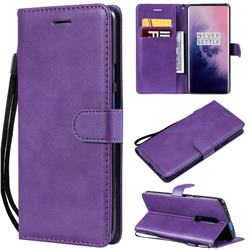 Retro Greek Classic Smooth PU Leather Wallet Phone Case for OnePlus 7 Pro - Purple