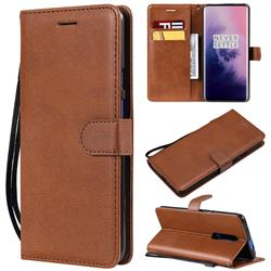 Retro Greek Classic Smooth PU Leather Wallet Phone Case for OnePlus 7 Pro - Brown