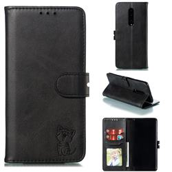 Embossing Happy Cat Leather Wallet Case for OnePlus 7 Pro - Black