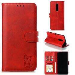 Embossing Happy Cat Leather Wallet Case for OnePlus 7 Pro - Red