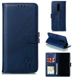 Embossing Happy Cat Leather Wallet Case for OnePlus 7 Pro - Blue