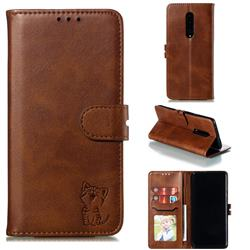 Embossing Happy Cat Leather Wallet Case for OnePlus 7 Pro - Brown
