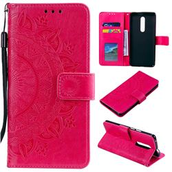 Intricate Embossing Datura Leather Wallet Case for OnePlus 7 Pro - Rose Red