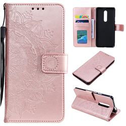 Intricate Embossing Datura Leather Wallet Case for OnePlus 7 Pro - Rose Gold