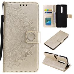 Intricate Embossing Datura Leather Wallet Case for OnePlus 7 Pro - Golden