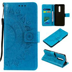 Intricate Embossing Datura Leather Wallet Case for OnePlus 7 Pro - Blue