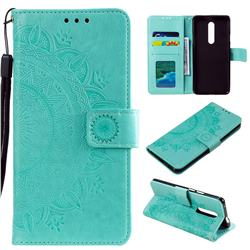 Intricate Embossing Datura Leather Wallet Case for OnePlus 7 Pro - Mint Green
