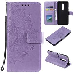 Intricate Embossing Datura Leather Wallet Case for OnePlus 7 Pro - Purple