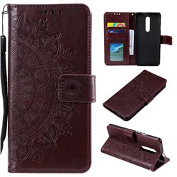 Intricate Embossing Datura Leather Wallet Case for OnePlus 7 Pro - Brown