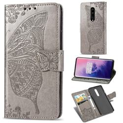 Embossing Mandala Flower Butterfly Leather Wallet Case for OnePlus 7 Pro - Gray