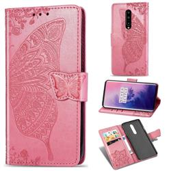Embossing Mandala Flower Butterfly Leather Wallet Case for OnePlus 7 Pro - Pink