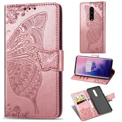 Embossing Mandala Flower Butterfly Leather Wallet Case for OnePlus 7 Pro - Rose Gold