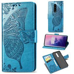 Embossing Mandala Flower Butterfly Leather Wallet Case for OnePlus 7 Pro - Blue