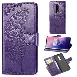 Embossing Mandala Flower Butterfly Leather Wallet Case for OnePlus 7 Pro - Dark Purple
