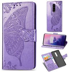 Embossing Mandala Flower Butterfly Leather Wallet Case for OnePlus 7 Pro - Light Purple