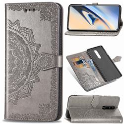 Embossing Imprint Mandala Flower Leather Wallet Case for OnePlus 7 Pro - Gray