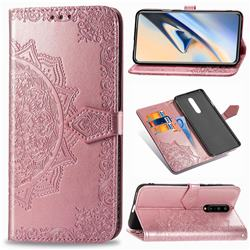 Embossing Imprint Mandala Flower Leather Wallet Case for OnePlus 7 Pro - Rose Gold