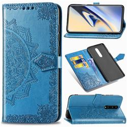 Embossing Imprint Mandala Flower Leather Wallet Case for OnePlus 7 Pro - Blue