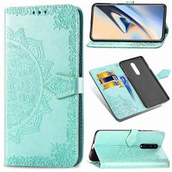 Embossing Imprint Mandala Flower Leather Wallet Case for OnePlus 7 Pro - Green