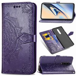 Embossing Imprint Mandala Flower Leather Wallet Case for OnePlus 7 Pro - Purple