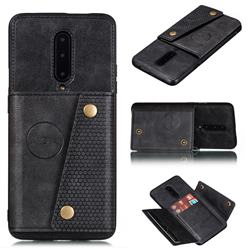 Retro Multifunction Card Slots Stand Leather Coated Phone Back Cover for OnePlus 7 Pro - Black