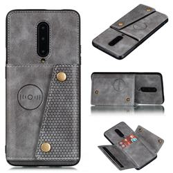 Retro Multifunction Card Slots Stand Leather Coated Phone Back Cover for OnePlus 7 Pro - Gray