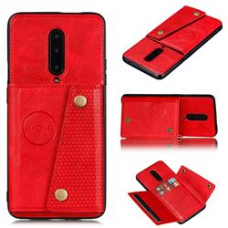 Retro Multifunction Card Slots Stand Leather Coated Phone Back Cover for OnePlus 7 Pro - Red