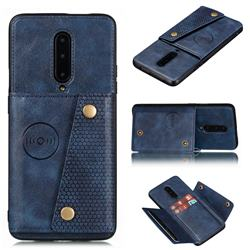 Retro Multifunction Card Slots Stand Leather Coated Phone Back Cover for OnePlus 7 Pro - Blue