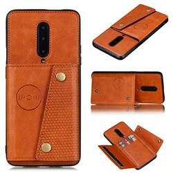 Retro Multifunction Card Slots Stand Leather Coated Phone Back Cover for OnePlus 7 Pro - Brown
