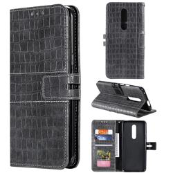Luxury Crocodile Magnetic Leather Wallet Phone Case for OnePlus 7 Pro - Gray